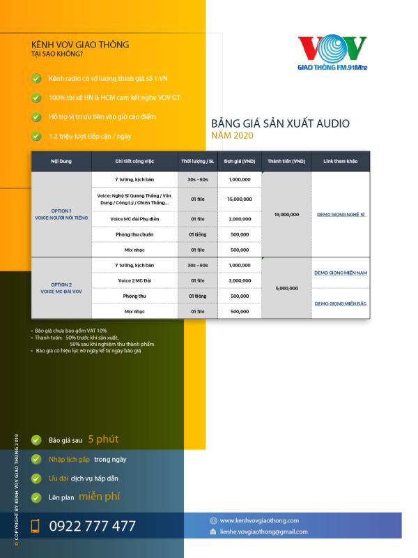 bảng giá quảng cáo radio - kênh VOV giao thông
